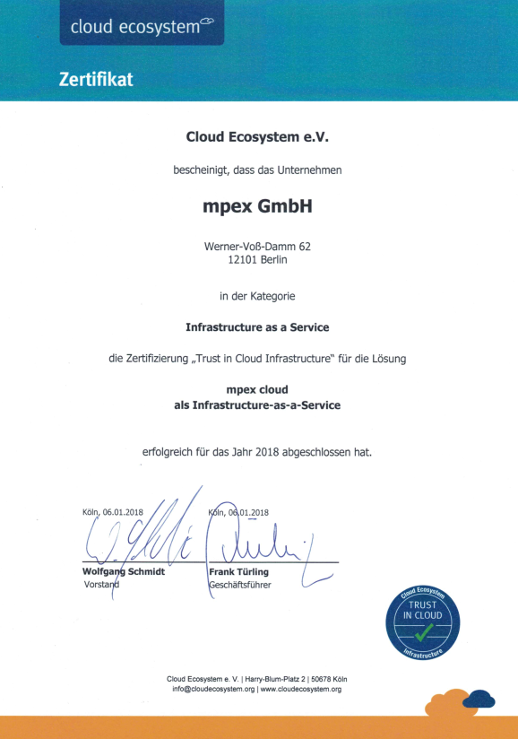Certificate of  Cloud Ecosystem e.V. Trust in Cloud Infrastructure