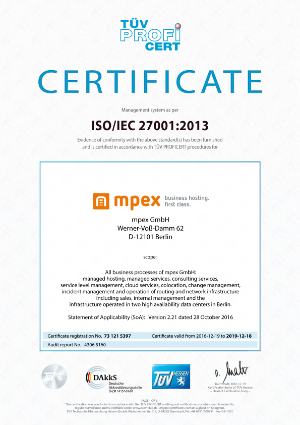 ISO 27001:2013 Information Security Certificate for mpex